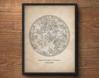 Star Map Print, Northern Hemisphere Star Chart, Constellation Print, Star Map, Celestial Wall Art, Astronomy Poster, Large Wall Art, Antique