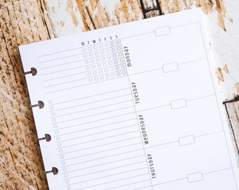 Printed Weekly Planner Inserts for use with Classic Happy Planner, WO1P Undated with Habit Tracker Task List   Awesome Weekly Pages W545D