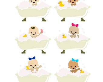 Bath Tub Baby Bathtub Shower Cuttable Design SVG PNG DXF & eps Designs Cameo File Silhouette