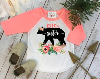 Big Sister Shirt, Floral Bear, Sisters Shirts, Big Sister Bear Shirt, Sister Shirt, Family tees, Big Sister Reveal, Big Sister Announcement