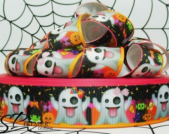 "1"" Halloween Ghosts Grosgrain Ribbon"