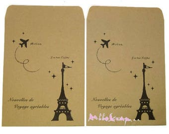"Set of 2 envelopes ""Tour Eiffel"" scrapbooking embellishment *."