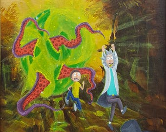 Rick and Morty Repurposed Thrift Shop Painting ART LUIS VELA *Print #2*