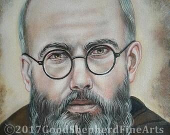 "Saint Maximilian Kolbe, Religious, Priest, Martyr, 8""x10"" & 11""x14"" Prints on White Card Stock, Image taken from My Original Catholic Art,"