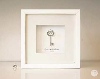 Personalized Wedding gift - Love gift Idea Anniversary gift customized - 25 Anniversary -  key antique silver - framed under glass