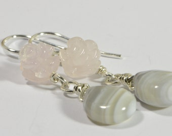 Rose Quartz and Agate Earrings Sterling Silver Handmade Jewelry Gemstone Jewelry