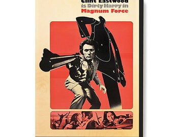 Vintage Movie Poster Art - Dirty Harry Magnum Force - Clint Eastwood printed on wood canvas by Grumpy Bulldog Design Works