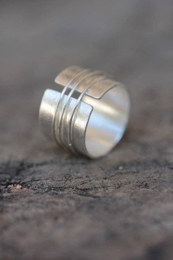 Handgemachte offen Band Silberring mit drei Silberdraht