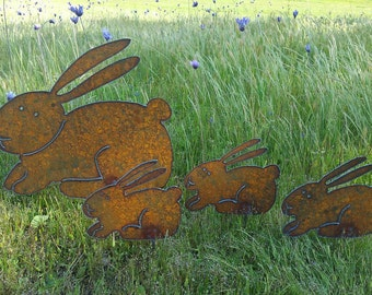 Bunny Garden Rusty Metal Art Easter Spring Bunny Family Plasma Cut By Hand