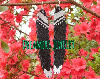 Black and silver leather feathers earrings