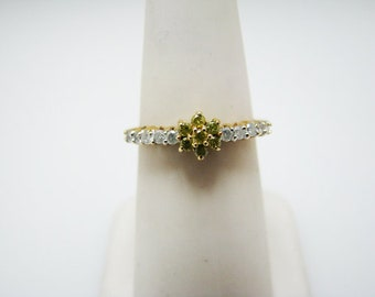 a985 Dainty Green and White Diamond Ring in 10k Yellow Gold