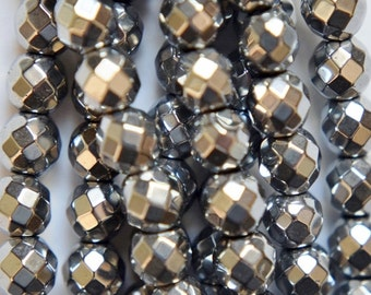 """Faceted Hematite Round Beads 6 mm, Silver Hematite - Full Strand 15 1/2"""", 65 beads, AA Quality"""