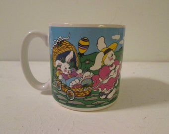 Vintage 1993 Easter Bunny Coffee Mug Ceramic Easter Everywhere Eggs Baskets Bunnies Rabbit Family Countryside Flowers Spring S. Tuck FIB