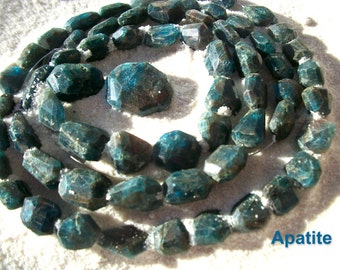 APATITE BEADS ~ Hand Cut ~ Teal Loose Faceted Freeform Nugget Chunky ~ 2 Beads ~ Choice Size 14-10mm + Sea Salt ~ Not Commercially Made