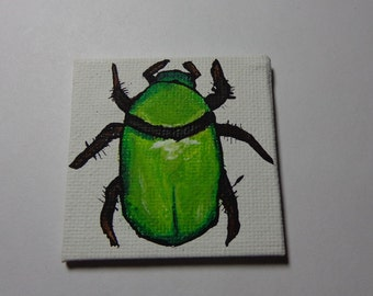 Green June Beetle Painting