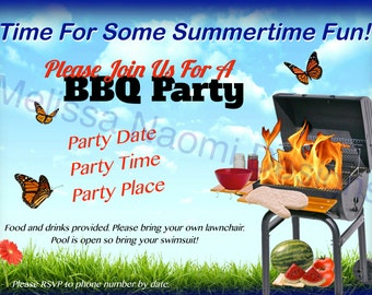 BBQ Party Invitation, DIGITAL FILE,  Customized Party Invitation, Cookout, Summer Fun Party, Backyard Barbecue, 4th of July, Memorial Day