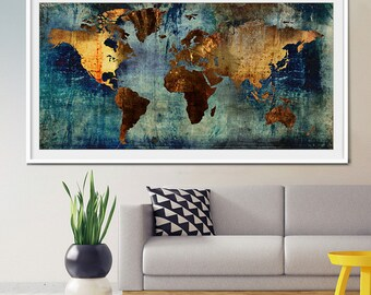 Abstract world map etsy abstract world map abstract art art print world map art large world gumiabroncs Image collections