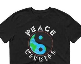 Peace Warrior Tees, Yin Yang, Peace Sign, World Peace, Peace on Earth-Sleeve T-Shirt