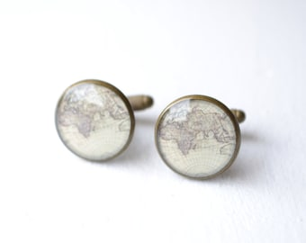 World Map set in antique brass cufflink accessories - keepsake inspired cuff links for men ready for gift giving handmade in the USA