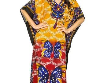 Sarah-P bright ethnic tribal long kaftan  free size / plus size