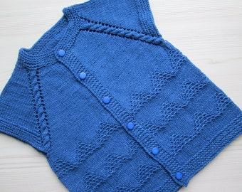 Knitted vest for boy, vest knitting, children's knitted vest