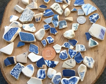 Irish Sea Pottery ~ bulk mixed blue pieces 180 g ~ jewellery making, ceramic, mosaic, art beach craft, charms pendants