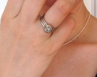 Moissanite and recycled white gold triple band ring, women's wide engagement ring, diamond alternative solitaire
