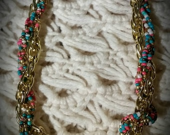 After Life Accessories Handmade Gold Plated Chain & Multi Color Seed Bead Twist Necklace