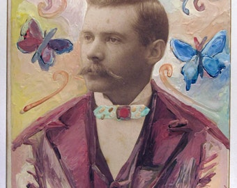 vintage photo original Encaustic Beeswax Painted Mixed Media 1892 Mustache Butterfly Man