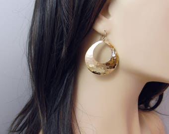 Large hammered disc earrings, large gold drop earrings, big gold dangle earrings, bold earrings