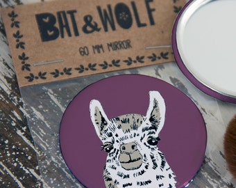 Illustrated Llama Pocket Mirror