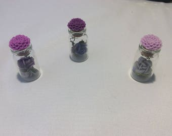 001– Set of (3) 2 IN.  glass trinket bottles w/ flowers!