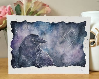 Corvus Crow Constellation Art Print, A4 A5 Sizes, Watercolour Painting Print, Animals In The Stars, Space Art