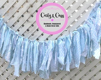 Fabric Garland, fabric banner, wedding garland, tag tie banner, Country, Rustic, shabby chic, fabric, garland