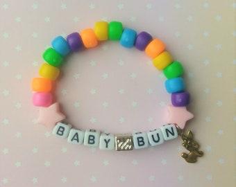 Bright Rainbow Star Rabbit Baby Bun Bun Singular Kandi Bracelet - Kawaii Lolita Decora Fairy Kei Pastel Goth Harajuku Fashion Cute JFashion