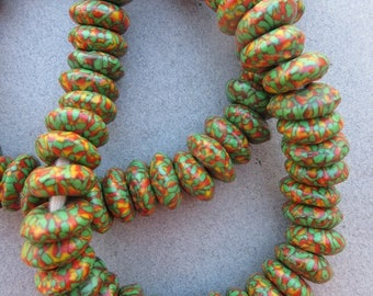Green, Yellow & Red Fused Ghana Glass Disk Beads (15x6mm) [68421]