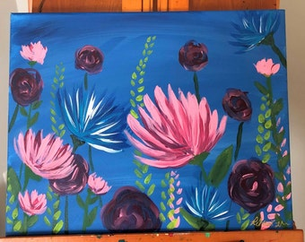 March Florals: Original 16x20in acrylic fine art painting. Fine art floral painting.