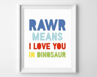 RAWR Means I Love You Dinosaur Art Print, Text Quote Dinosaurs Wall Art, Playroom Boy Kids Room Decor, Nursery Digital Printable Sign