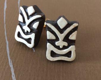Tiki cuff links - hawaiian wedding - vintage