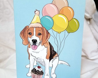 Beagle 'n Balloons Greeting Card