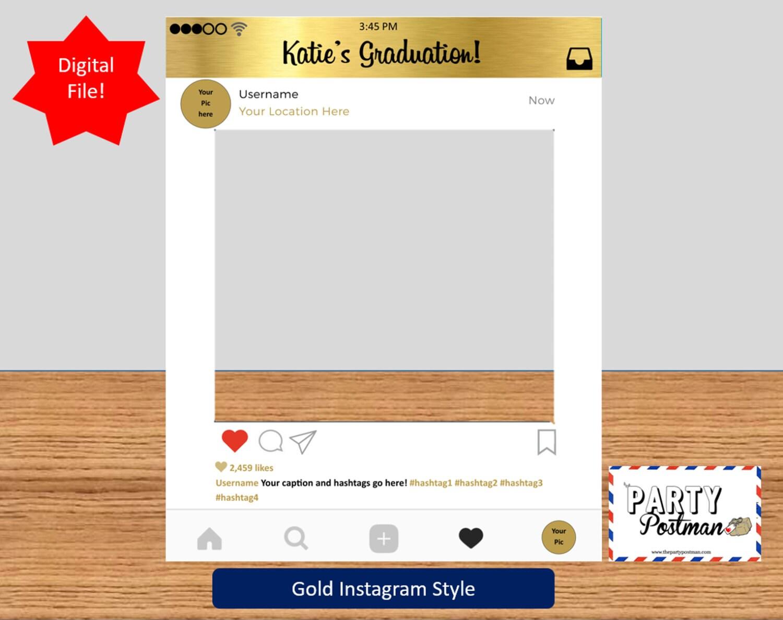 cadre personnalis instagram en or photo booth prop instagram. Black Bedroom Furniture Sets. Home Design Ideas