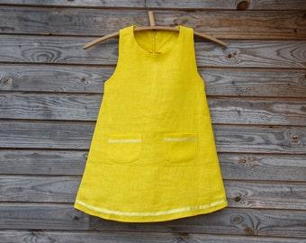Bright Yellow Linen Dress, Flower Girl, Summer Dress, Rustic Wedding, Yellow Linen, Round Neck, Country Dress, Handmade