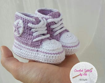 CONVERSE style crochet shoes for newborn lilac