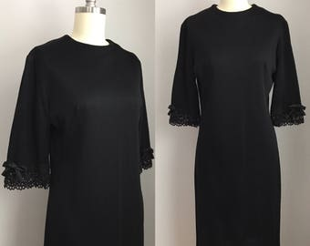Vintage 1960s Jet Black Cocktail Party Dress with Crocheted Lace Bow Sleeves Size Medium