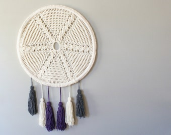 "DIY Crochet PATTERN - Cable Crochet Star and Tassels Wall Hanging  Size: 24"" diameter (2015023)"
