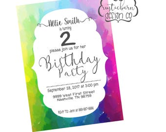 Rainbow Themed Girls or Boys Birthday Party Invitation- Downloadable, Printable, 100% Customize-able!!! (2 Options)