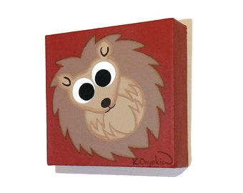 Cute Hedgehog Original Art - small acrylic painting of a cartoon hedgehog on its back. Woodland animal nursery art on dark red canvas