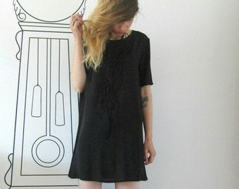Basic Oversized Black Tee / Oversized Tee Dress / Minimalist Clothing by FabraModaStudio / D114