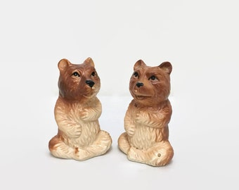 Vintage Bear Figurines - Set of Two - Made in Japan - Yoga Bears in Lotus Position