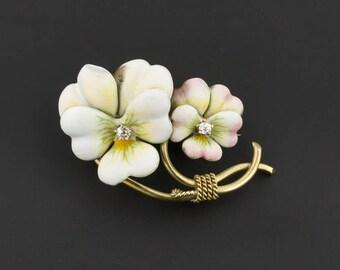 Antique Art Nouveau Enamel Flower Brooch | Antique Brooch | Antique Pansy Pin with Diamonds | Antique Enamel Pin